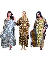 Three Satin Caftans/Kaftans, All Unique Prints, One Size Plus, Special#23