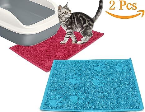 BPS 2X Alfombra Manta de Estera para Mascotas Perros Gatos Antideslizante para Alimento Bandeja del Aseo ...