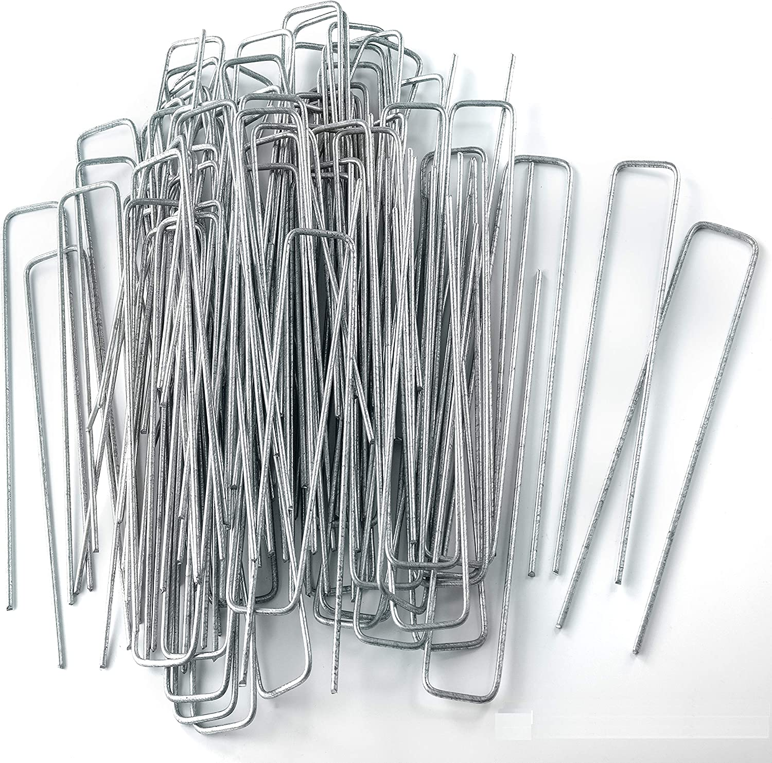 """NHZ 100Pcs 8.7"""" x 1.57"""" Galvanized Garden Staples - Anchor Pins Ground Stakes - U-Shaped Weed Barrier Landscape Fabric Spikes, 100 pcs."""