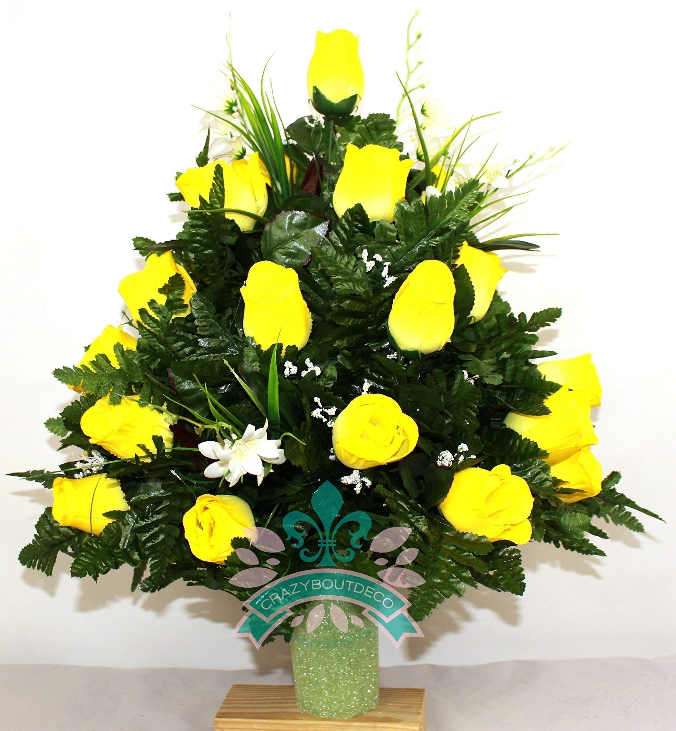 Beautiful-XL-Spring-Yellow-Roses-Cemetery-Flowers-for-a-3-Inch-Vase
