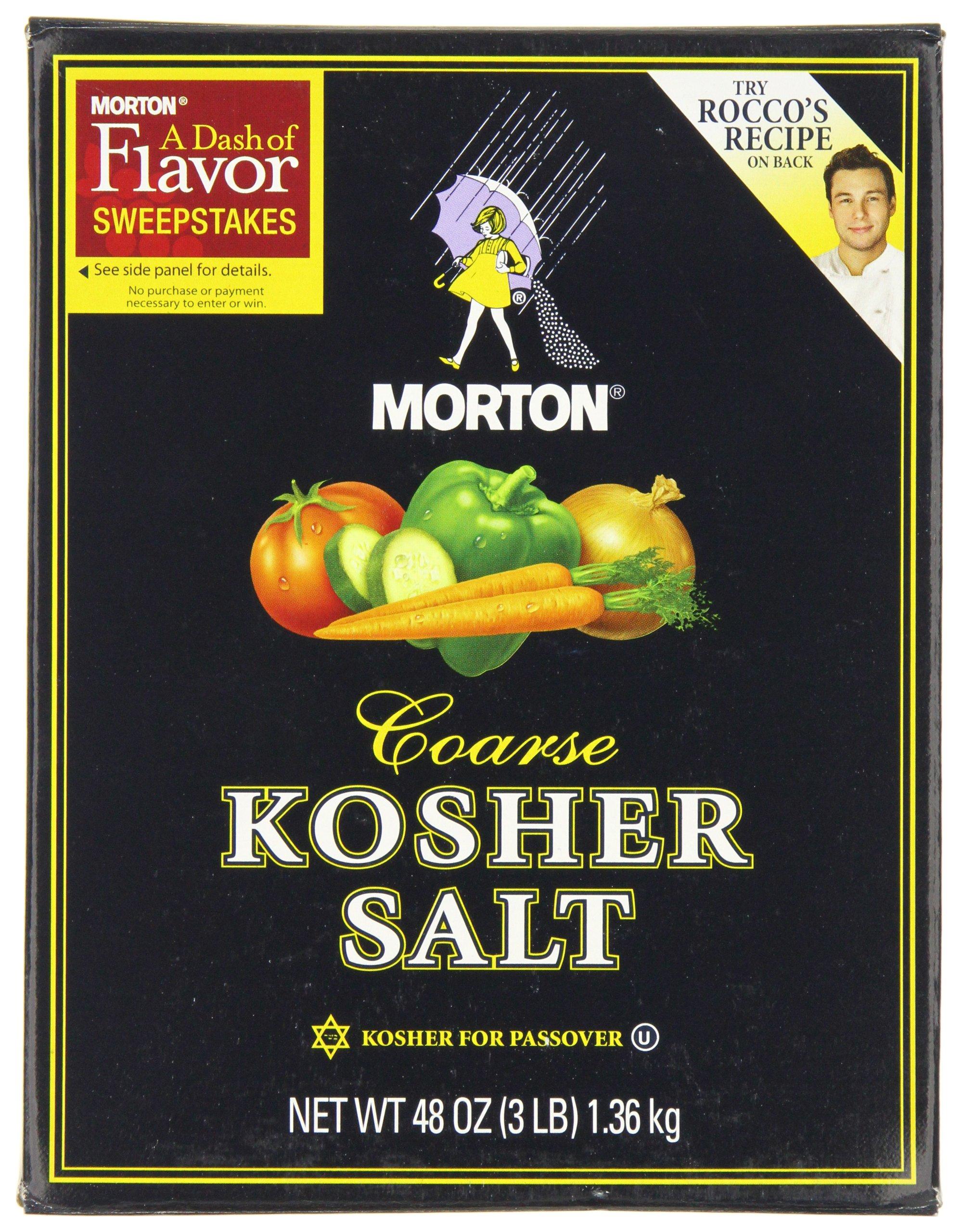 Morton Kosher Salt-Coarse, 3-Pounds (Pack of 12) by Morton (Image #1)