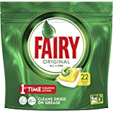 Fairy Original All in One Dishwasher Tablets Lemon, 22 Tablets Per Pack (Pack of 5, 110 Tablets)