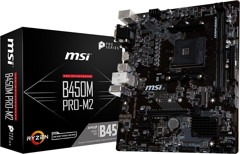 MSI ProSeries AMD Ryzen 1st and 2nd Gen AM4 M.2 USB 3 DDR4 D-SUB DVI HDMI Micro-ATX Motherboard (B450M PRO-M2)