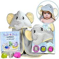 Baby Gift Set- Rub A Dub, Who's in My Tub? 5 Piece Bath Set Includes Elephant Hooded Towel, 3 Jungle Safari Squirt Toys…