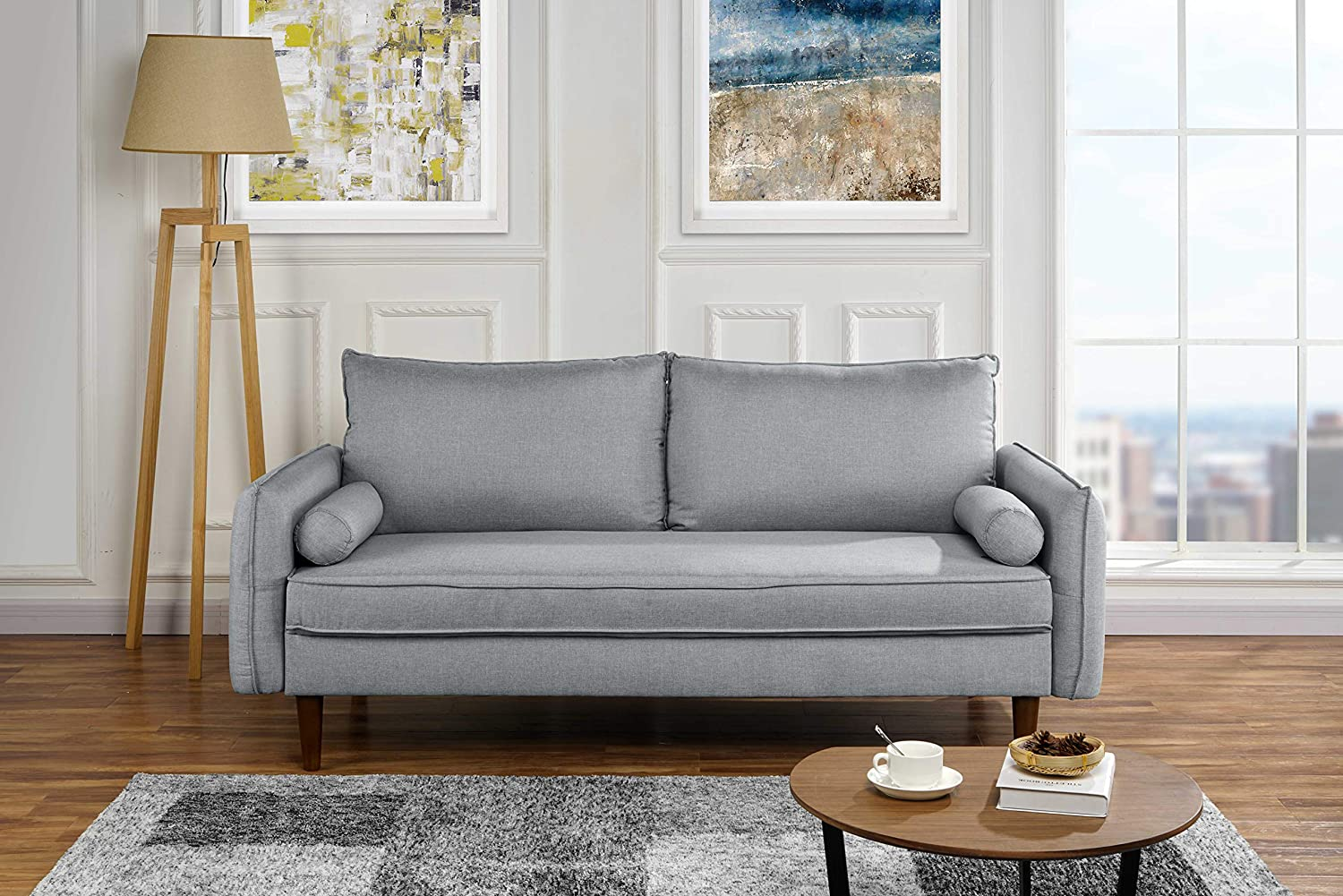 Tremendous Modern Living Room Fabric Sofa Couch With Bolster Pillows Light Grey Ocoug Best Dining Table And Chair Ideas Images Ocougorg