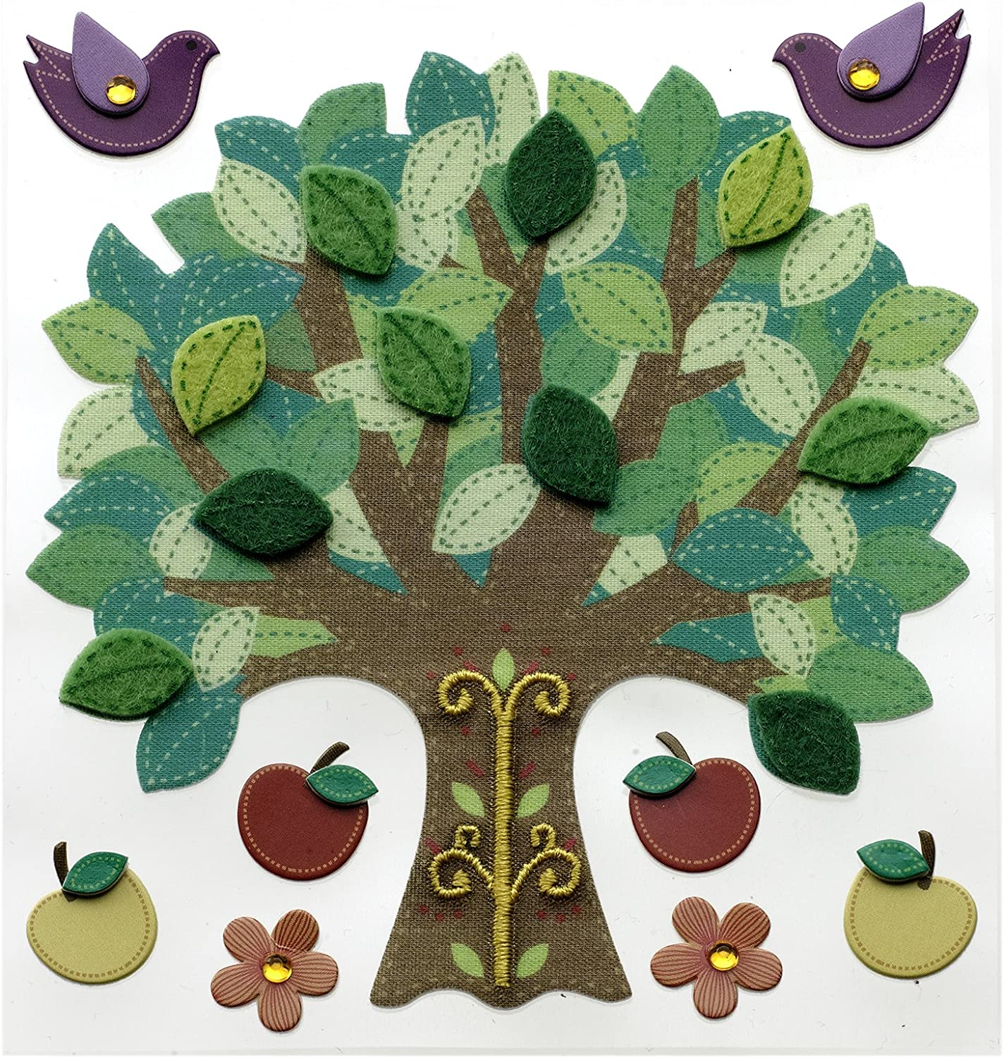 Jolee's Boutique Dimensional Stickers, Colorful Stitched Tree
