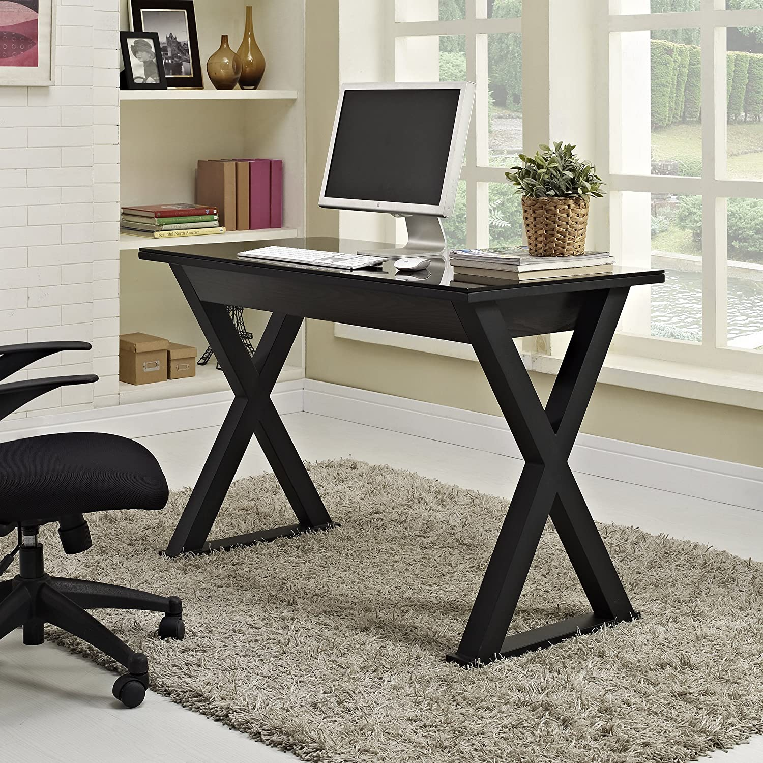 Amazon Com Inch Wide Black Glass Metal And Wood X Framed Desk