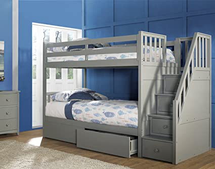 Amazon Com Hillsdale Furniture Ne Kids Barrett Stair Bunk Bed With