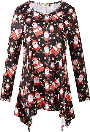 SSLR Women's Fun Xmas Crewneck Casual 3/4 Sleeves Ugly Christmas T-Shirt