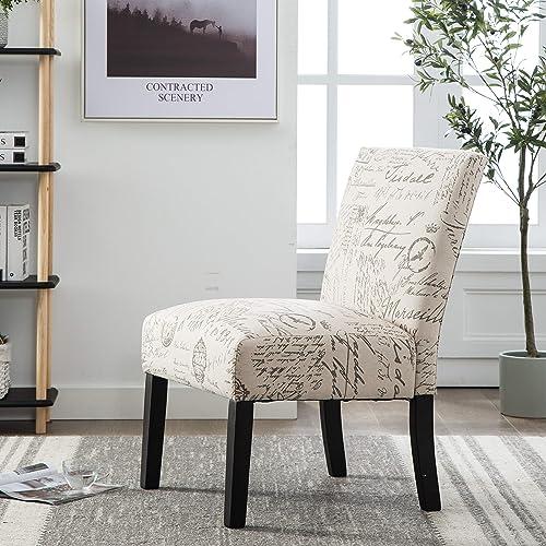 Marne Script Print Fabric Armless Accent Chair
