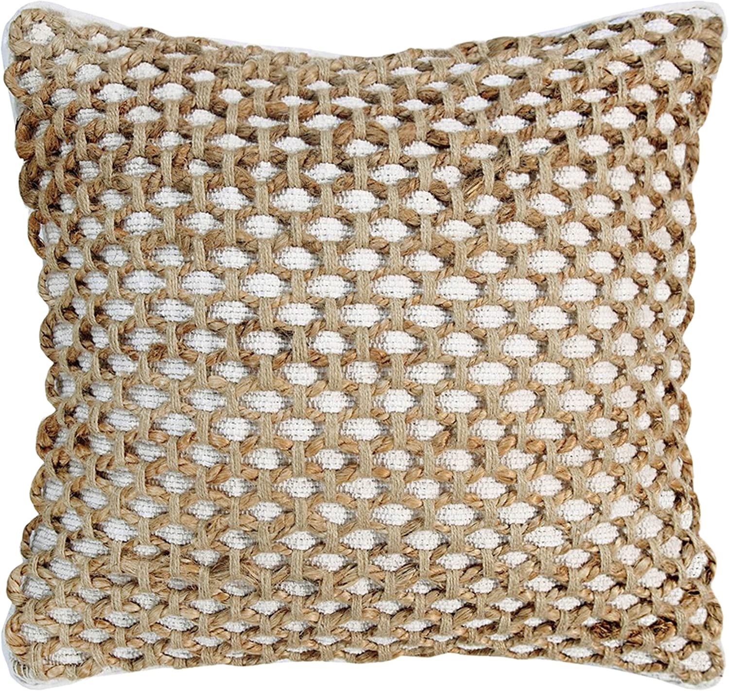 Boho Living Jada Decorative Pillow, White Pillows, 20 in x 20 in x 6.5 2 Count