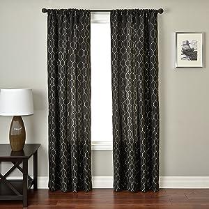 Softline Home Fashions PSHAblk120RP Abbey Curtain Panel, Black