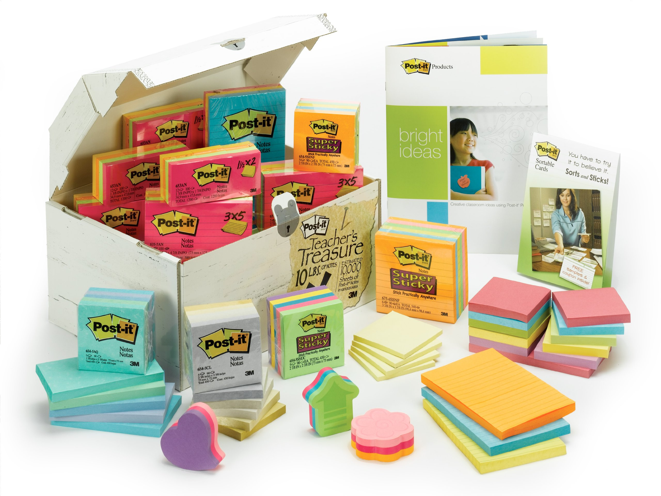 Post-it Notes, America's #1 Favorite Sticky Note, Assorted 10 Pound Variety Pack of Notes for Teachers (Teachers Treasure Chest)