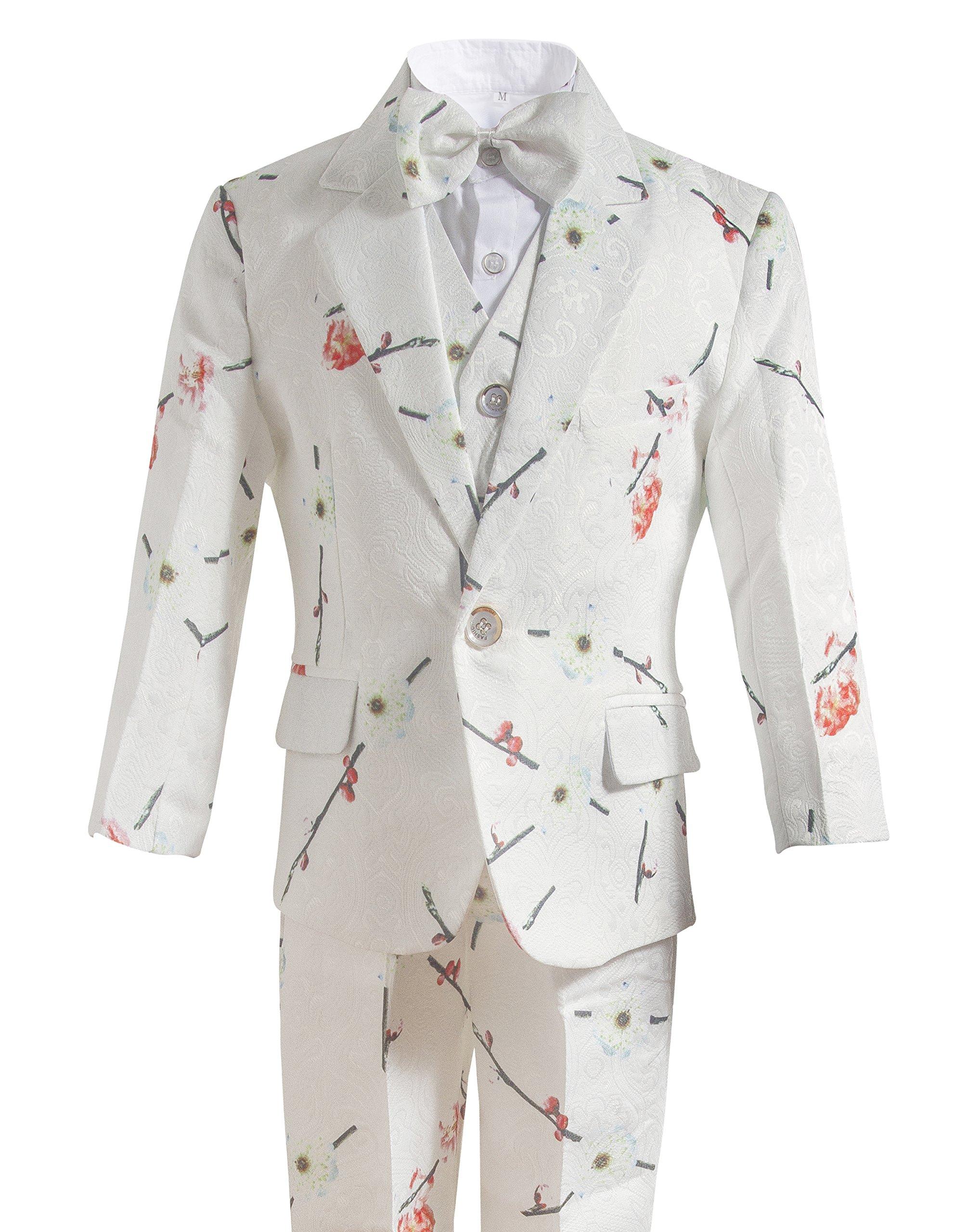 Gele Boy 6 Pieces Floral Formal Dress Suit,Slim Fit Tuxedo Set (6, White Rose)