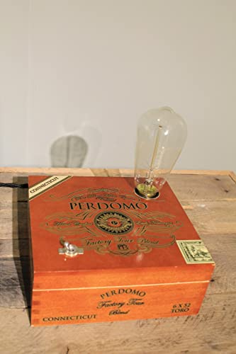 Handmade Perdomo Factory Tour Cigar Box Lamp With Edison Style Bulb