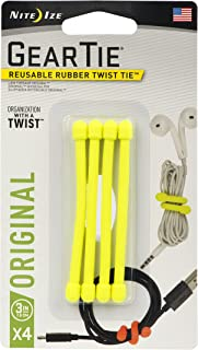 product image for Nite Ize Original Gear Tie, Reusable Rubber Twist Tie, 3-Inch, Neon Yellow, 4 Pack, Made in the USA