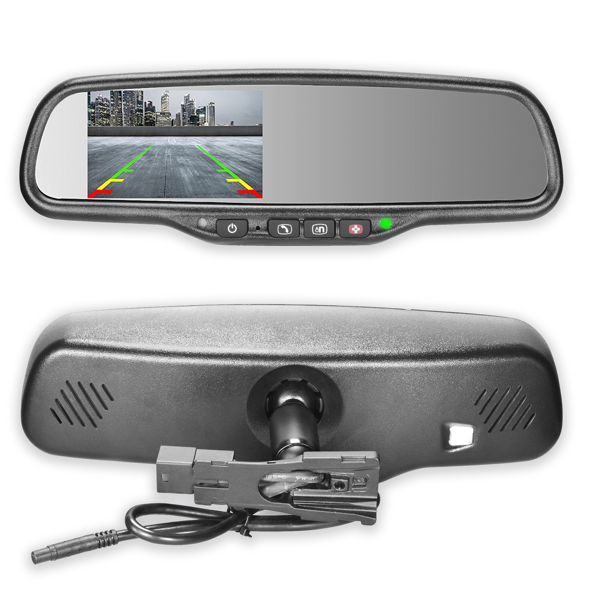 Master Tailgaters OEM Rear View Mirror with 4.3'' Auto Adjusting Ultra Bright LCD and OnStar Buttons(for Backup Cameras) - Connects to Your Existing OnStar Wiring