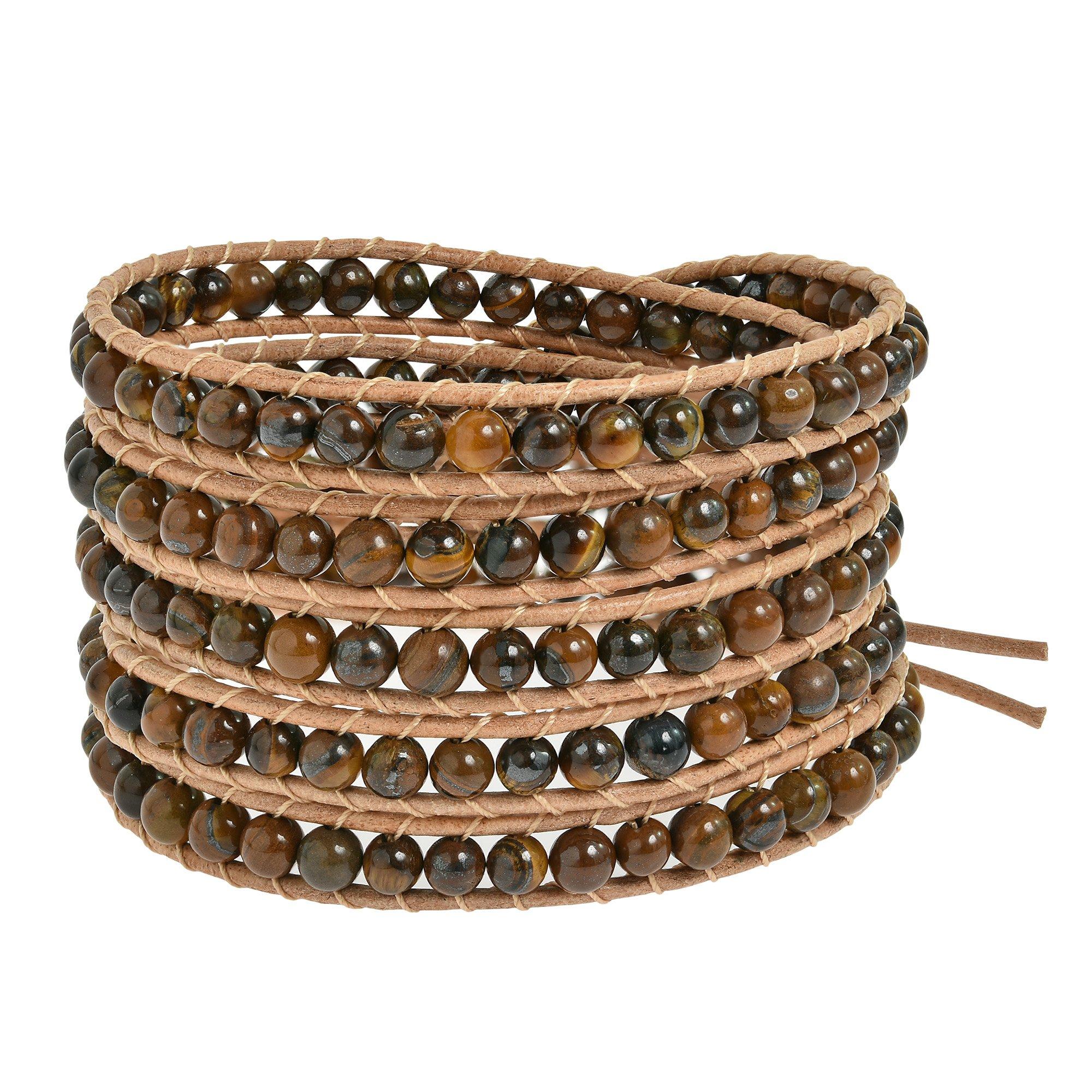 AeraVida Trendy Tiger's Eye Five Nude Leather Wrap Bracelet
