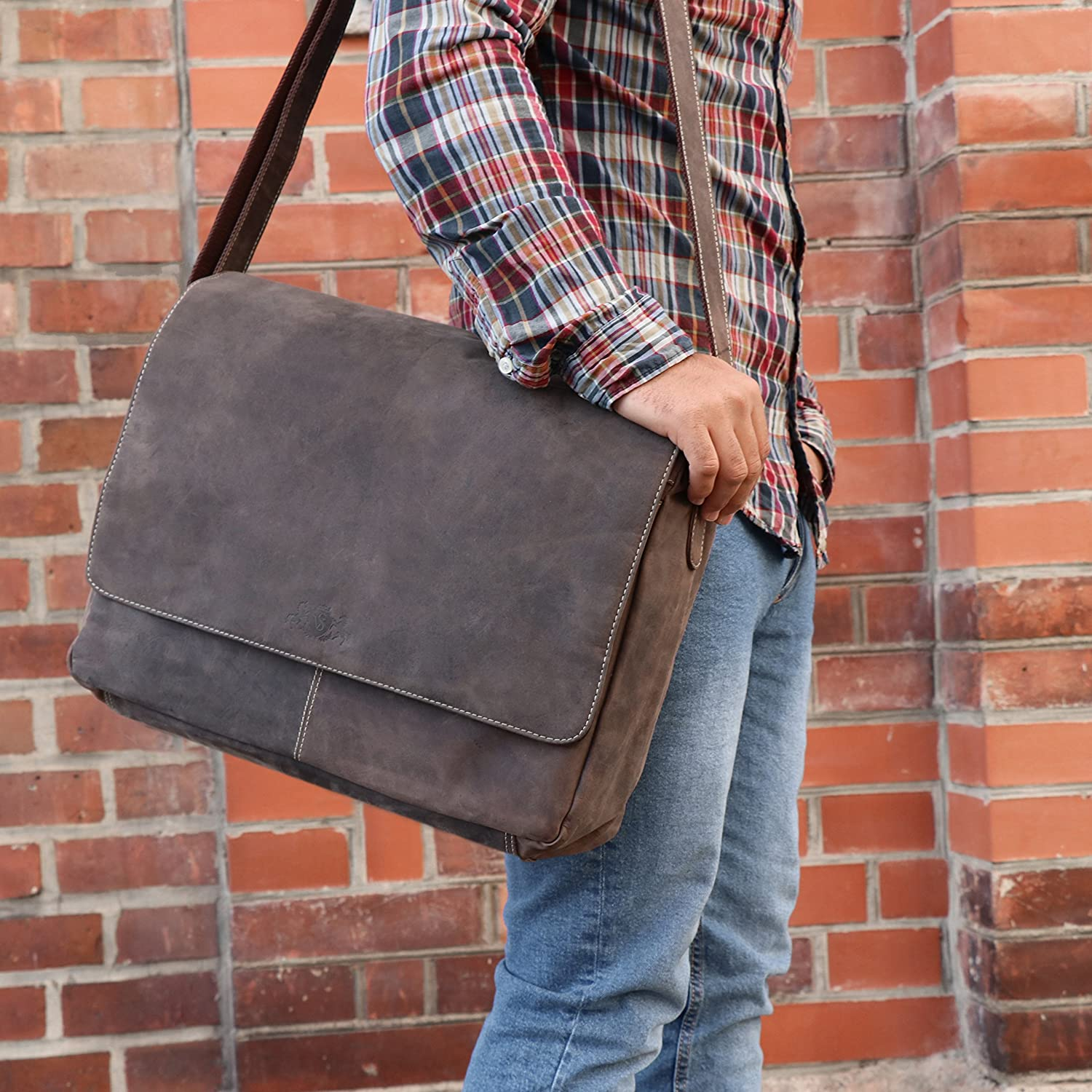 "SID & VAIN Messenger Bag Spencer XL Laptop Bag Real Leather 15"" Laptop Business Briefcase Leather Bag Women and Men Brown Vintage-brown"