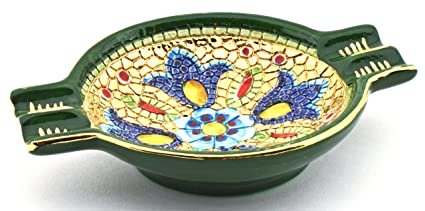 Art Escudellers CENICERO Redondo Ceramica Pintado a Mano con Oro de 24K, Decorado al Estilo