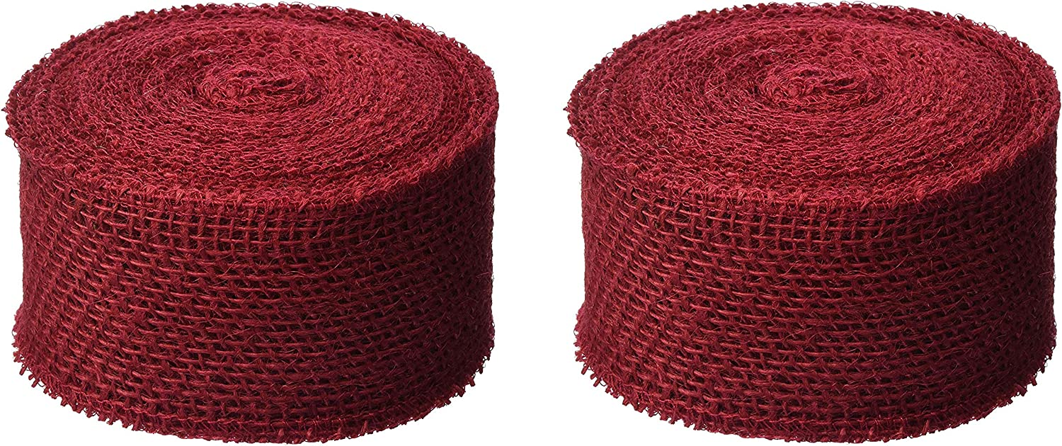 Red DARICE 2914-052 240gm Burlap Ribbon 2.5-Inch by 10-Yard