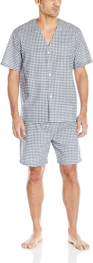 1940s Men's Underwear: Briefs, Boxers, Unions, & Socks Fruit of the Loom Mens Broadcloth Short Sleeve Pajama Set $31.99 AT vintagedancer.com