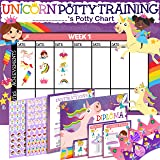 Potty Training Chart for Toddlers Girls, Unicorn Design - Sticker Chart, 4 Week Reward Chart - 213 Cute Stickers, Certificate