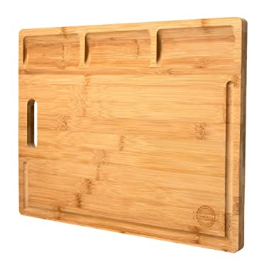 Large Bamboo Cutting Board Butcher Block With Built-In Garnish Bowls (16 x 12 ), Organic, BPA Free, With New and Improved Deeper Juice Groove for eco-friendly kitchen - By Good&Co.
