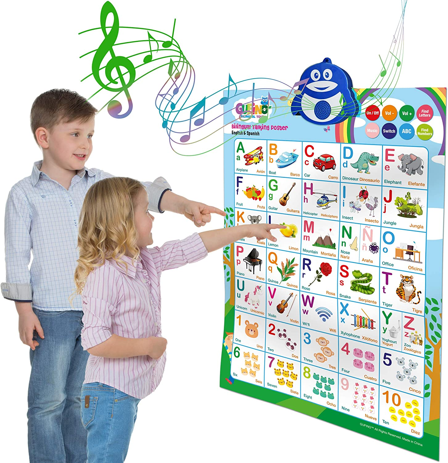 Learning Toys for Toddlers - Interactive Alphabet Poster, Talking ABC and 123s and Songs and Sound of Music - Bilingual Spanish and English - Perfect Educational Toys for 3 Year Old