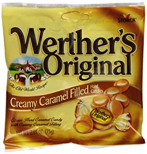 WERTHER'S ORIGINAL Creamy Caramel Filled Hard Candies, 2.65 Ounce Bag (Pack of 12), Hard Candy, Bulk Candy, Individually Wrapped Candy Caramels, Caramel Candy Sweets, Bag of Candy, Hard Candy Bulk