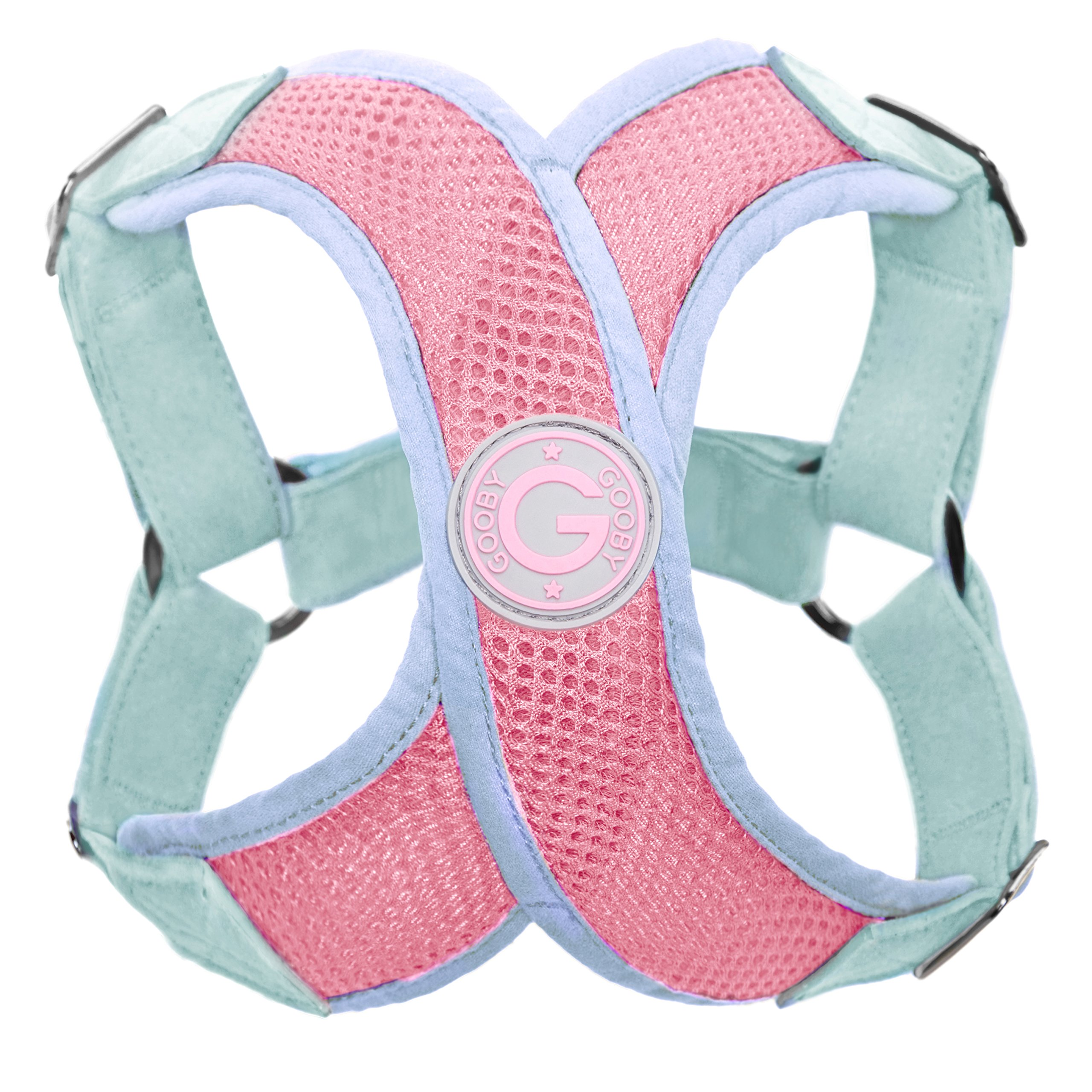Gooby - Perfect Fit X Harness, Small Dog Choke Free Step-In Harness with Synthetic Lambskin Soft Strap, Pink, Medium