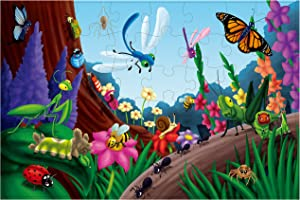 Floor Puzzles – 48 Piece Giant Floor Puzzle, Bugs and Insects Jumbo Preschool Jigsaw Puzzles, Toy Puzzles for Kids Ages 3-5, 1.9 x 2.9 Feet