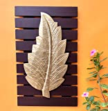 Maple Craft Maple Ash Brown Leaf Wall Art -Brass Wood for Home Decor/Living Room/Bed Room (10x16 Gold Brown)