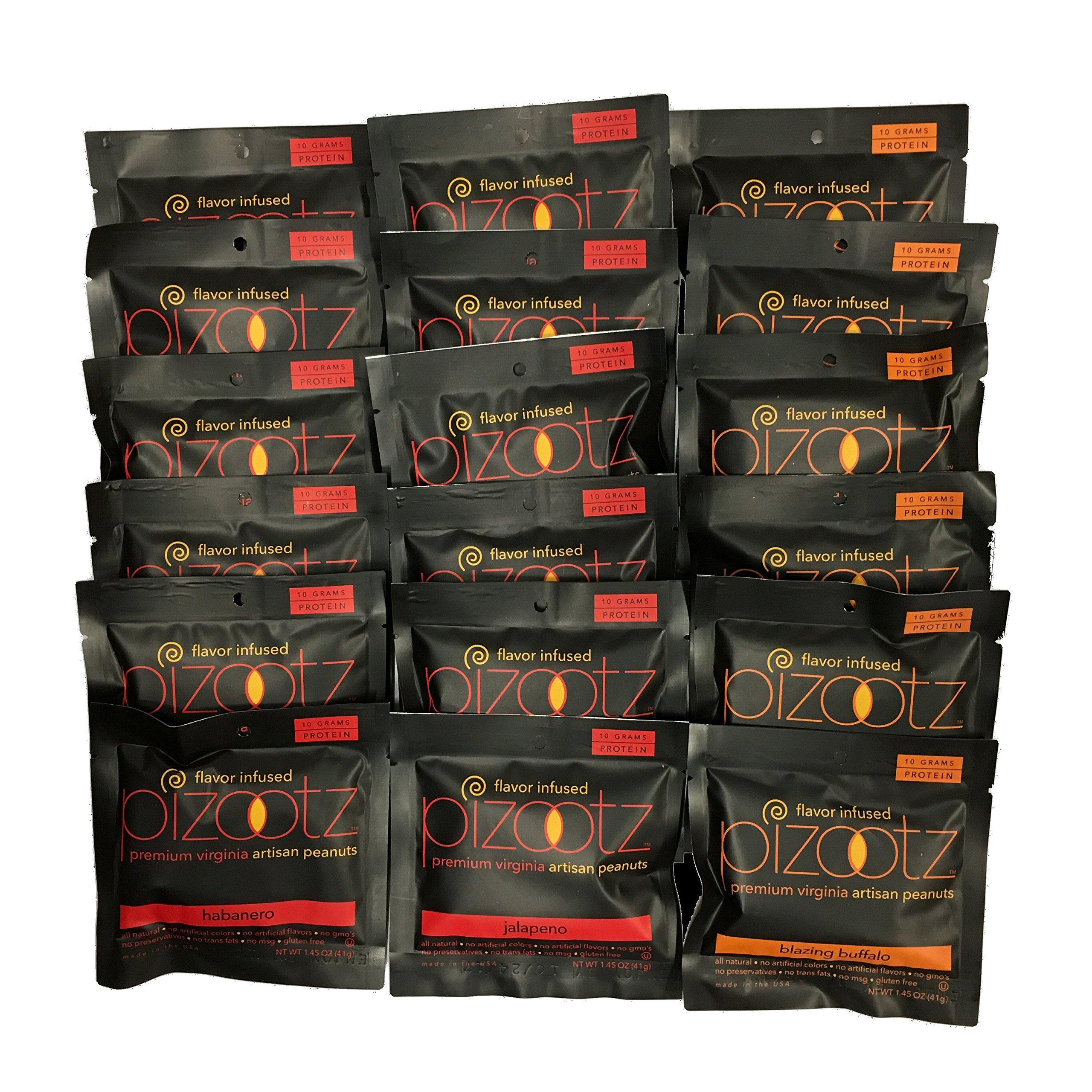 Pizootz Heat Variety Pack- 6 each 1.45 oz Jalapeno, Habanero, Blazing Buffalo-Flavor Infused Peanuts-Premium Virginia Gourmet Artisan Vegan Peanuts - (18) 1.45 oz bags …