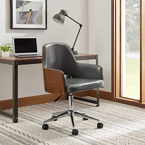 Art Leon Mid Back Faux Leather Swivel Office Chair