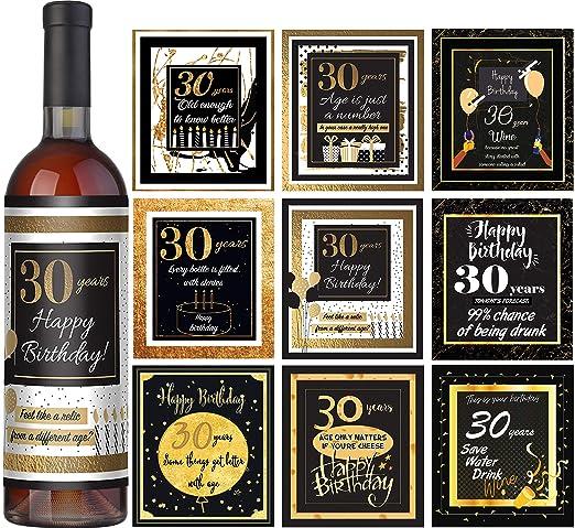 Etiquetas de vino para 30 cumpleaños, juego de 9 - 30 ...
