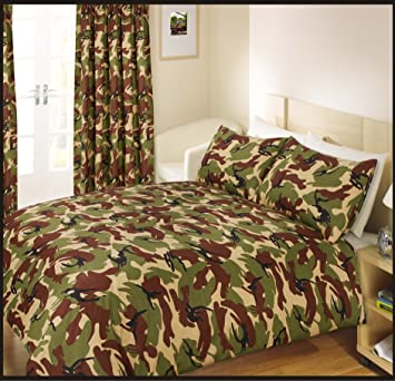 66x72 One Pair of Curtains + Tiebacks Set Army Camouflage Green ...