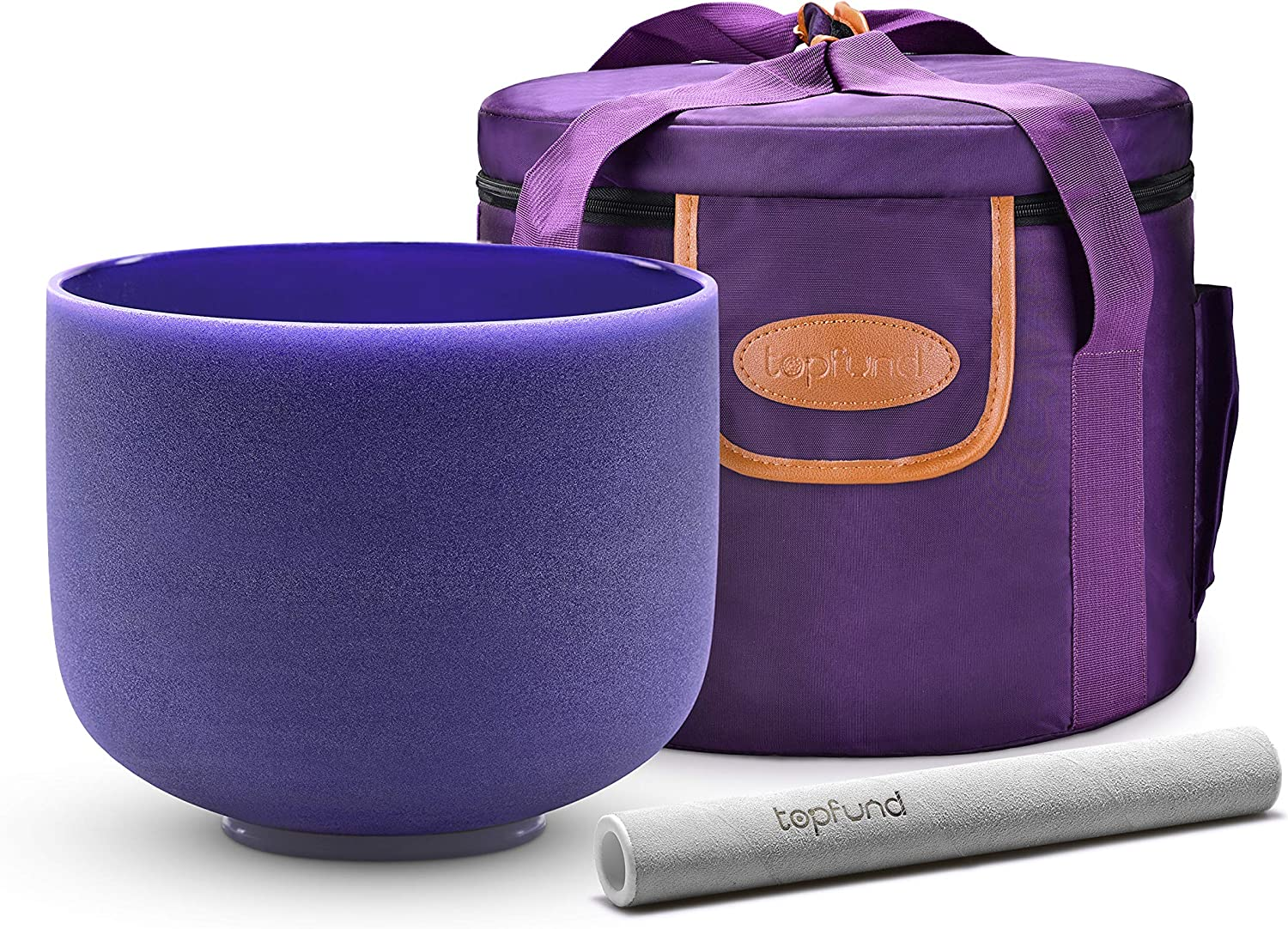 Heavy Duty Crystal Singing Bowl Case TOPFUND 432 hz Violet A# Note Crystal Singing Bowl Pineal Chakra 8 inch Crystal Singing Bowl Suede Striker and O-ring