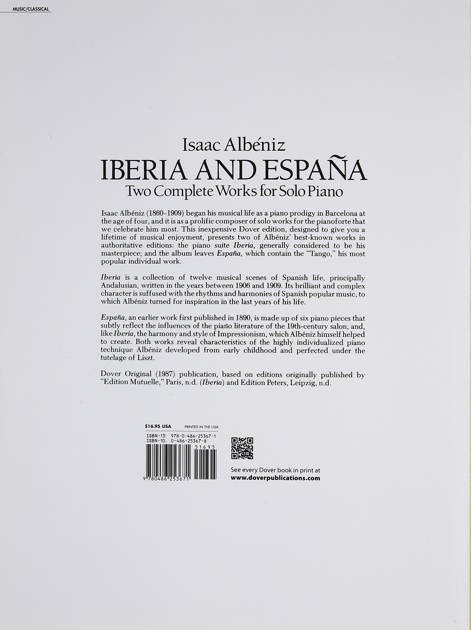 Two Complete Works for Solo Piano Iberia and Espana