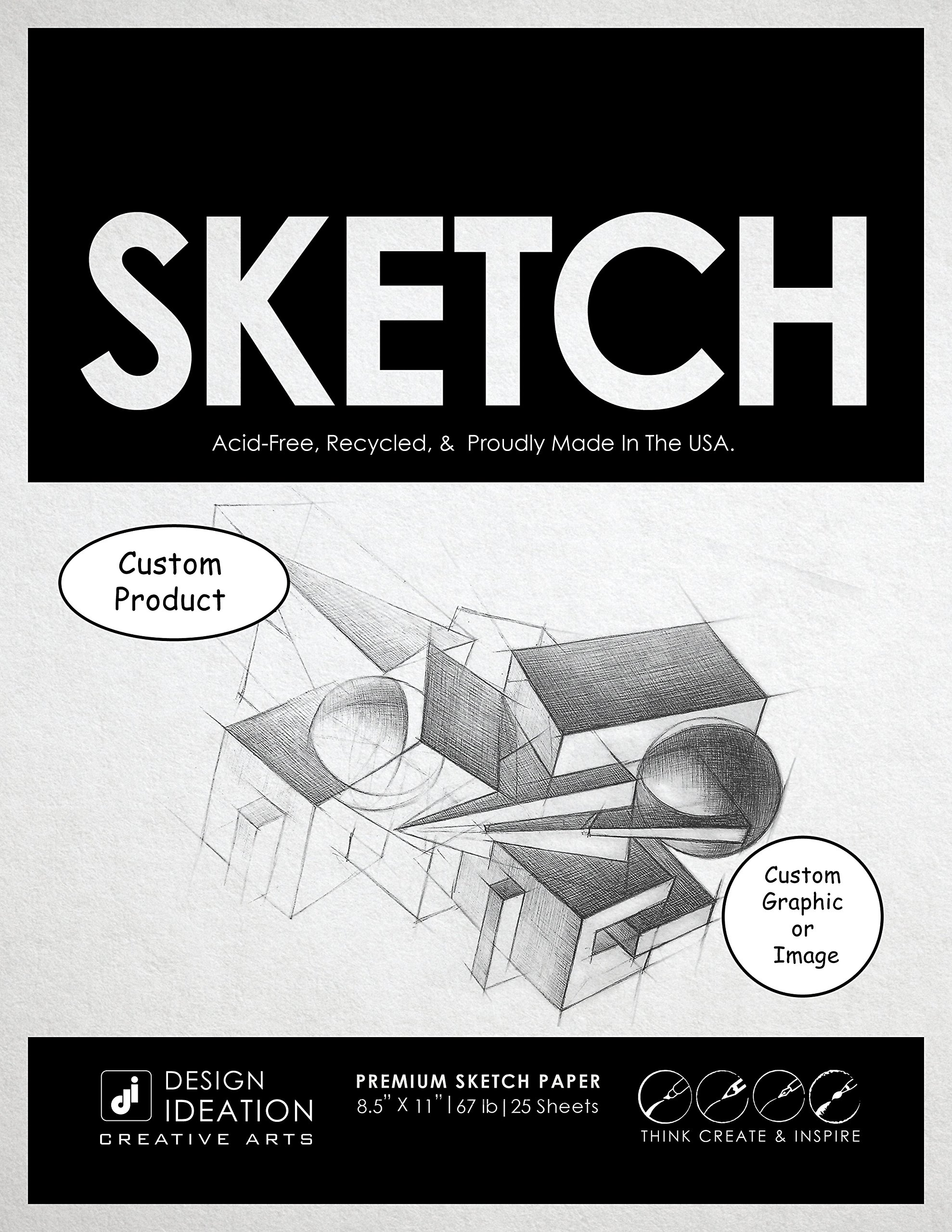 CUSTOM: Premium Paper Sketch Pad for Pencil, Ink, and Marker. Great for Art, Design and Education. (Jumbo 8.5'' x 11'') (20)