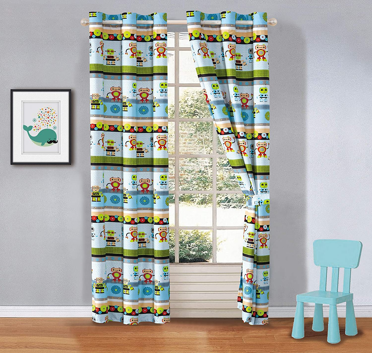 2 Panel Curtain Set Robot Android Fantasy Machine Multi-Color for Kids