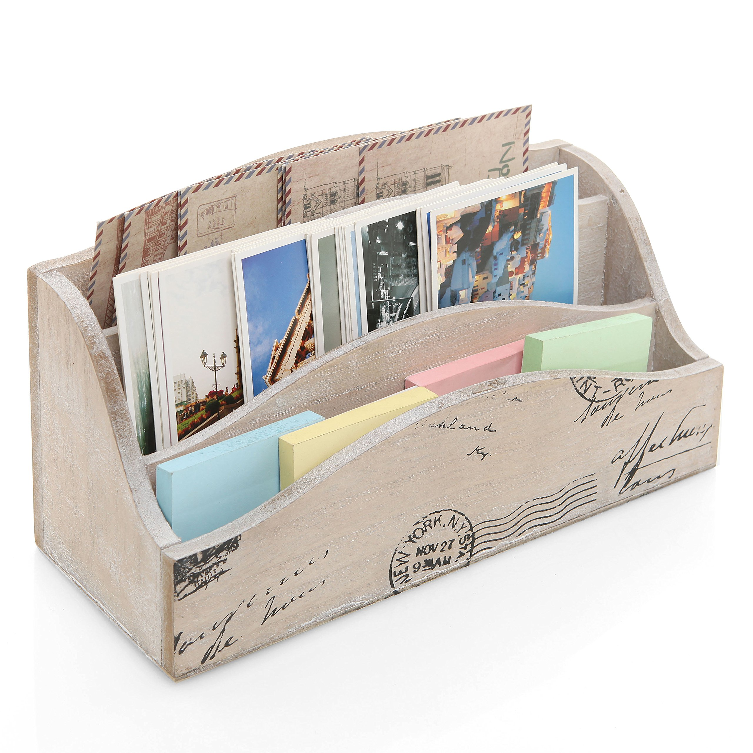 Beige Vintage Style Postcard Design Wood Mail Sorter / Desktop Office Supply Storage Box