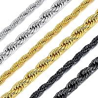 Richsteel Collar de Cuerdas Acero Inoxidable para Hombres Mujeres, 3mm / 6mm Grosor 46cm - 76cm Largo [Platino/Dorado…