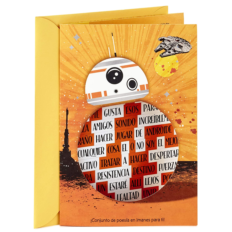 Amazon.com: Hallmark Vida Star Wars Spanish Birthday Card for Kids with Magnetic Word Set: Office Products