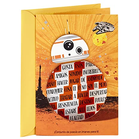 Hallmark Vida Star Wars Spanish Birthday Card for Kids with Magnetic Word Set