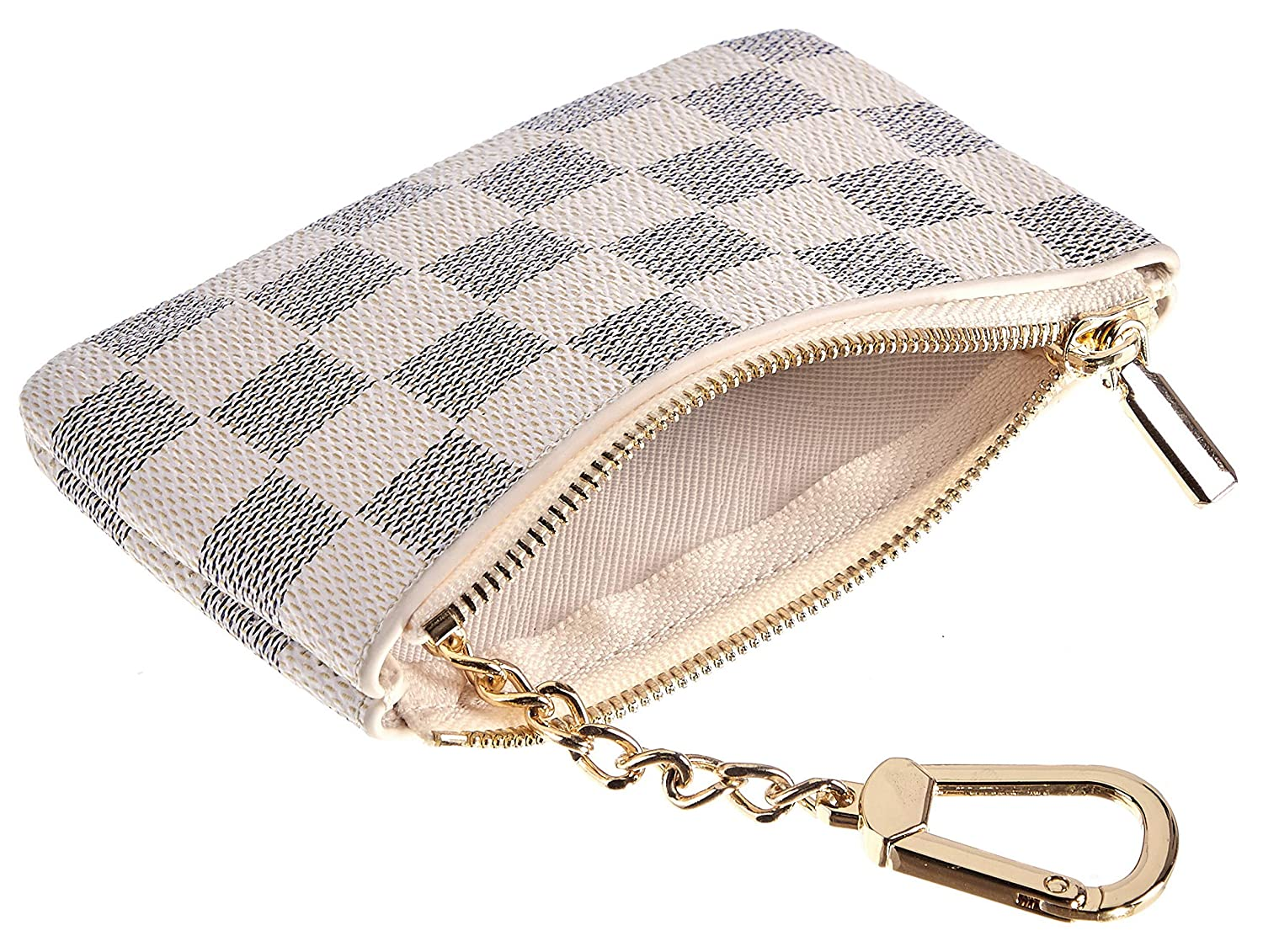 01 Victoria Rita Messi Luxury Checkered Zip Coin Pouch Purse Change Holder Wallet with Key Chain 2 pcs Set