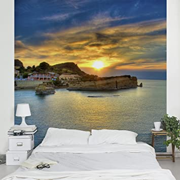 Apalis Vliestapete Sonnenuntergang über Korfu Fototapete Quadrat ...