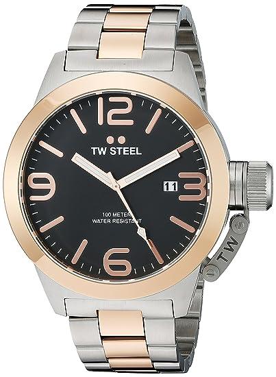 TW Steel Canteen Unisex Reloj Infantil de Cuarzo con Esfera cronógrafo y Plateado Correa de Acero Inoxidable de CB133: Amazon.es: Relojes