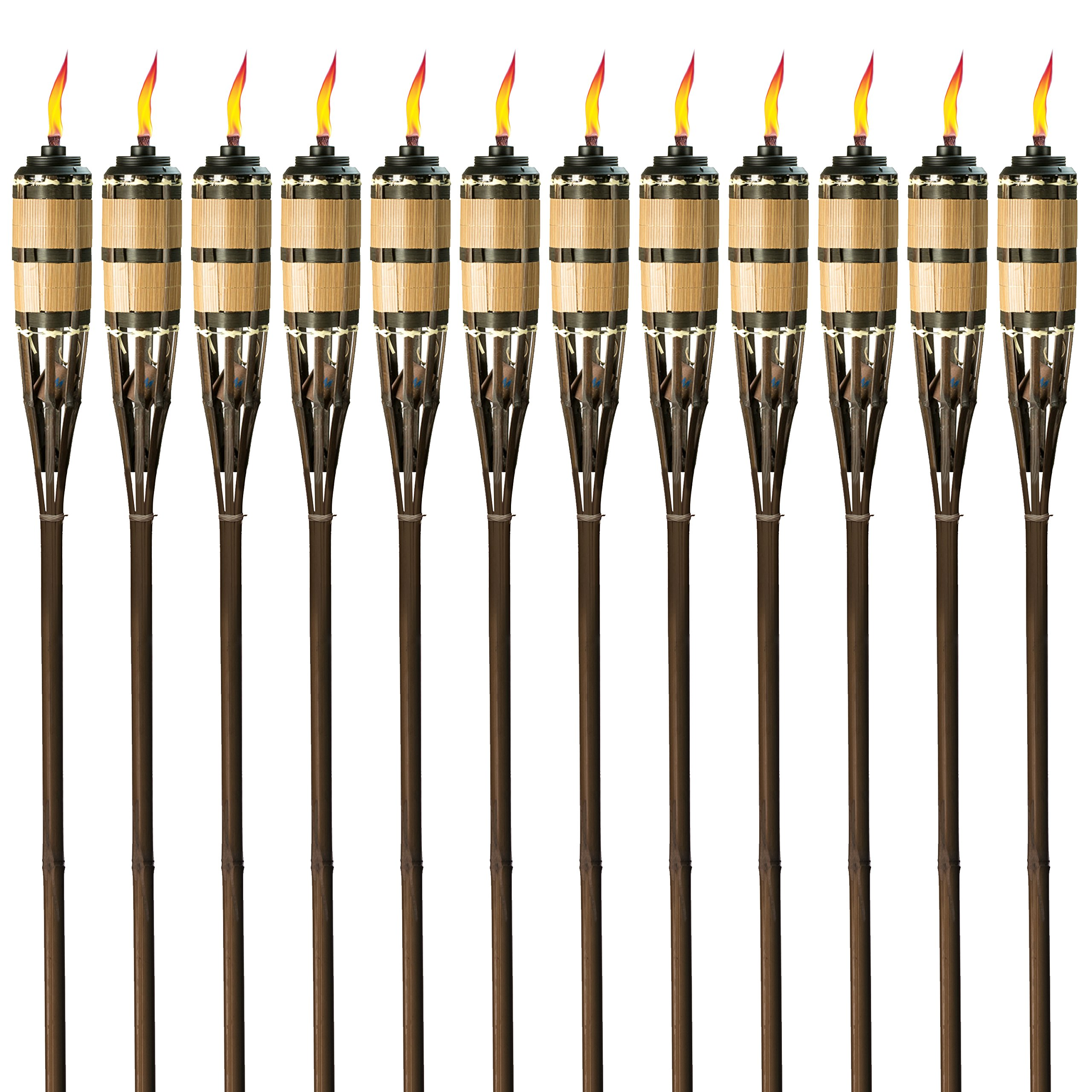 Tiki Brand 1117071 Cypress Brown 12-Pack Torch, 60-Inch, Bamboo by Tiki