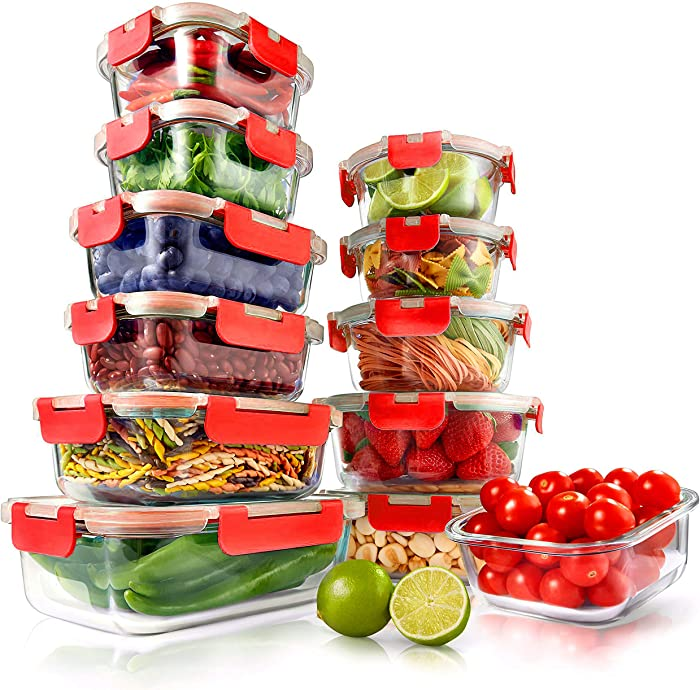 Superior Glass Food Storage Containers - 24-Piece Stackable Glass Meal-prep Containers w/ Newly Innovated Hinged BPA-Free 100% Leakproof Locking Lids - Freezer-to-Oven-Safe - NutriChef NCGLRED (Red)